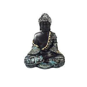 Buda preto sentado em resina - Prata