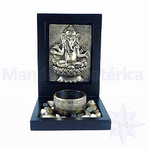 Porta vela com pedras Placa Ganesha Bronze