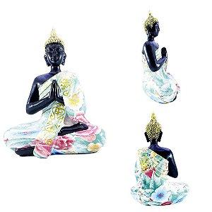 Buda em Oração Preto Colorido