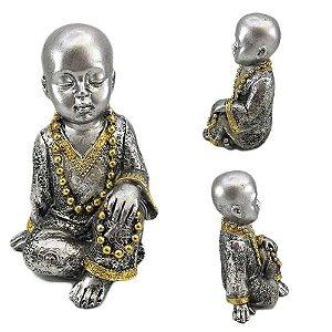 Buda em Resina Prata Sentado