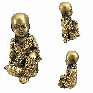 Buda em Resina Dourado Sentado