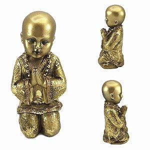 Buda em Resina Dourado Rezando