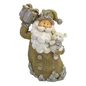 Papai Noel com urso e presente