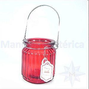 Porta Velas de Vidro Cherry Vermelho
