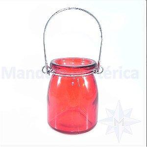 Porta Velas de Vidro Liso Vermelho