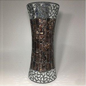 Vaso Cilíndrico mosaico com espelhos