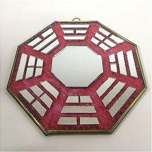 Baguá de Vidro Espelhado Vermelho