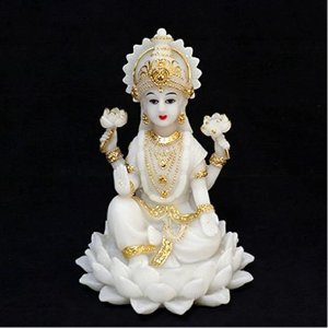 Lakshmi Branca na Flor de Lótus
