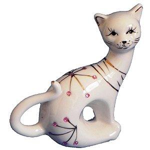 Gato Sentado, Com Detalhes Em Strass