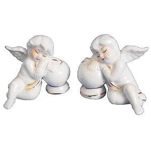 Kit Anjos Dormindo Bola Cerâmica