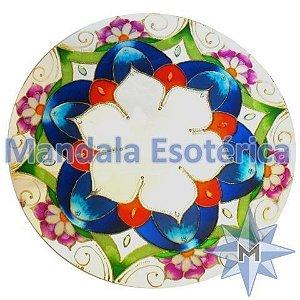 Espelho Flor Azul Com Matizes Multicoloridas