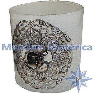 Porta Velas Champanhe Vidro Metal