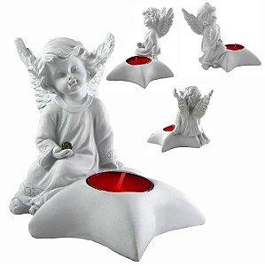 Anjo Branco Com Porta Vela