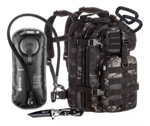 Kit Invictus Mochila Tática Assalt 30L - Canivete Phanton - Refil Advanced - 2 Mosquetões