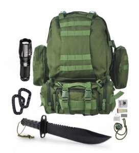 Kit Camping Mochila 60L verde Oliva - X900 - Faca Rambo - mosquetões