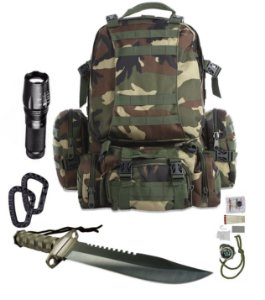 Kit Camping Mochila Tática Modular Camuflada 4 em 1+ X900 + Faca Rambo + mosquetões