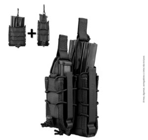 KIT Porta Carregador de Pistola + Fuzil Invictus Reload Preto