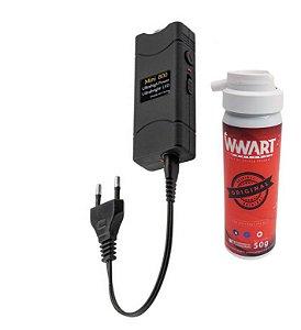 Kit defesa pessoal Spray de Pimenta + Arma de de choque compacta