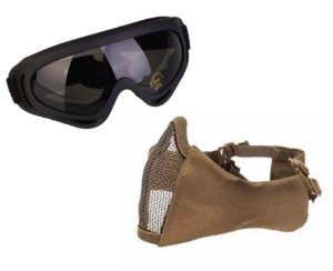 Óculos x400 + Mascara Meia Face Confort Proteçao Orelha