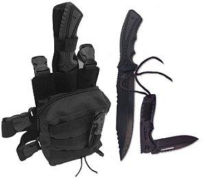 Kit Bornal de Perna Modular com Bainha + Faca Militar + Canivete