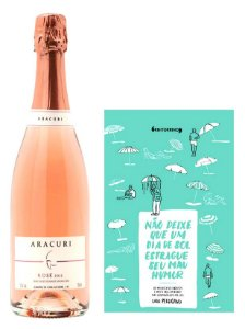 Kit Espumante Aracuri Brut Rosé + Livro Nunca Deixe Que Um Dia de Sol Estrague Seu Mau Humor