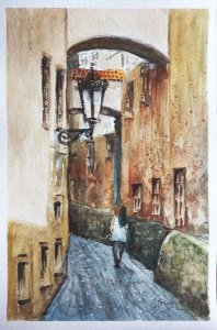 Pintura em AQUARELA - Viela (por Renato Stegun)