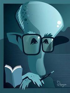 Pôster Caricatura Carlos Drummond (Blue)