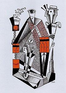 """Desenho série """"OutOFboX #13"""" nanquim s/ papel Canson - arte original com moldura"""