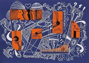 """Desenho série """"OutOFboX #19"""" nanquim e caneta Posca s/ papel Canson - arte original com moldura"""