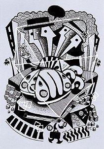 """Desenho série """"OutOFboX #22"""" nanquim s/ papel Canson - arte original com moldura"""