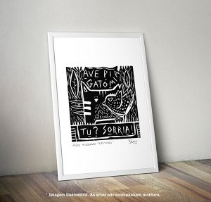 """Xilogravura """"3 Atitudes"""" (arte original assinada e numerada c/ tiragem de 25)"""