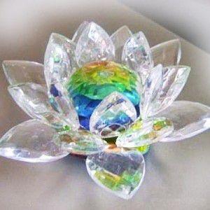 Enfeite Flor de Lótus Vidro Pequena 7cm