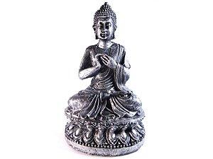 Estátua Buda Hindu Flor de Lotus - 16 cm - Prata