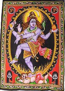 Painel Indiano em Tecido - Deus Shiva Nataraja