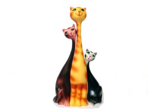 Enfeite Gato - Estatuas trio gatos