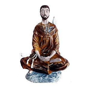 Estátua São Francisco de Assis Meditando - 21 cm