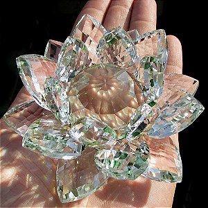 Flor de Lótus de Cristal - várias cores - 14 cm