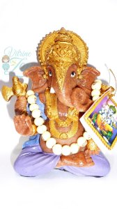 Estátua Ganesha com Japa-mala - 16 cm