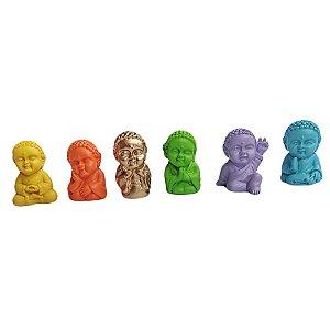 6 estatuas mini buda colorido