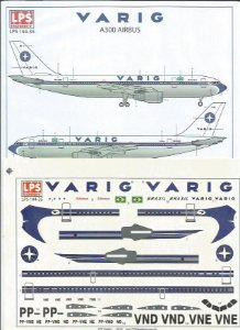 Decal Airbus A300 Varig - escala 1/144 - LPS Hobby