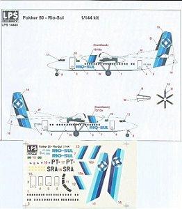 Decal Fokker 50 Rio-Sul, escala 1/144 - LPS Hobby