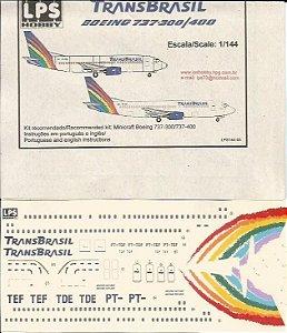 Decal Boeing 737-300/400 Transbrasil (última pintura) - escala 1/144 - LPS Hobby