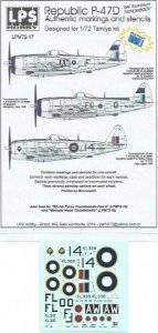 "Decal P-47D ""RAF Aluminium Thunderbolts"" - escala 1/72 - LPS Hobby"