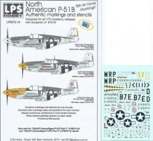 """Decal North American P-51B """"8th Air Force Mustangs"""" - escala 1/72 - LPS Hobby"""
