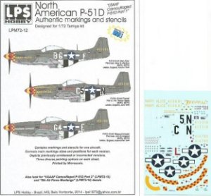"Decal P-51D versão ""USAAF Camouflaged P-51D Part 1"" - escala 1/72 - LPS Hobby"