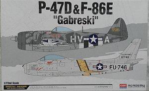 "P-47D & F-86E ""Gabreski"" - escala 1/72 - Academy   2 kits na mesma caixa !"