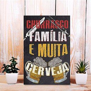 Quadro Decorativo - Churrasco, família e muita cerveja