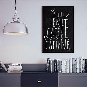 Quadro Decorativo - Aqui tem fé, café e cafuné