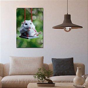 Quadro Decorativo - Hamster no balanço