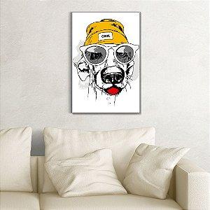 Quadro Decorativo - Cachorro de gorro